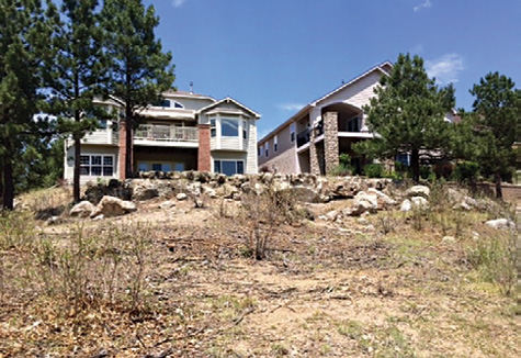 """Above: Neighborhood homes were surrounded by brush, weeds, and ladder fuels in this """"Before"""" photo. Below: This """"After"""" photo shows the same neighborhood landscape after it had been eaten over by the goats."""