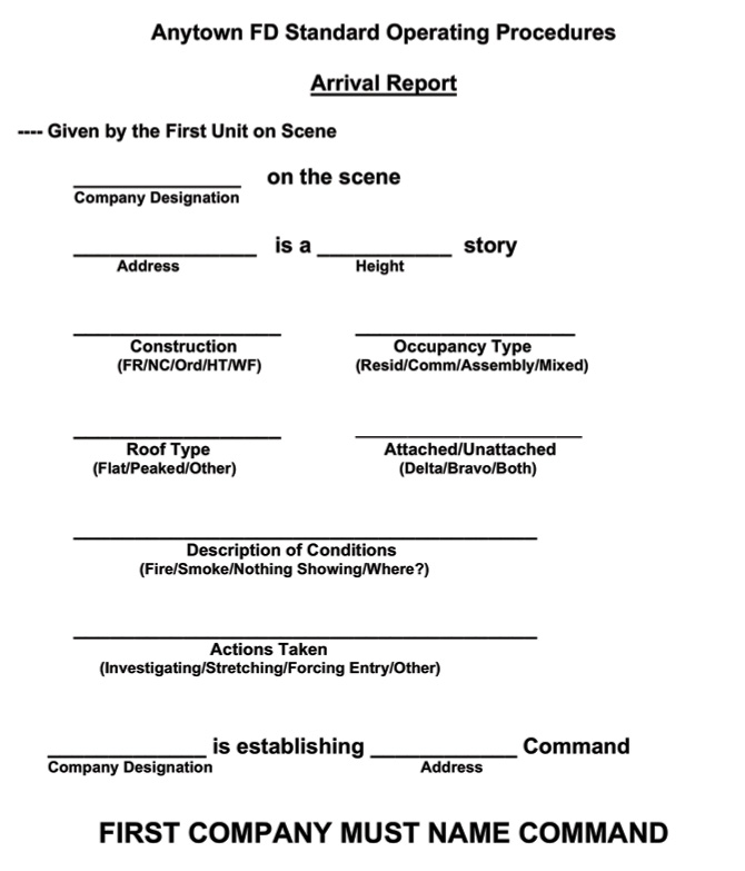 Figure 1: Standard arrival report. (Image by authors.)