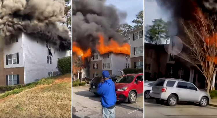 Youtube still of a house fire on the top floor