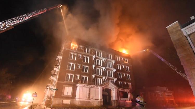 Joplin building firefighters fighting blaze fire