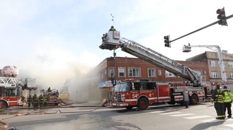 Fire fighters fighting a blaze
