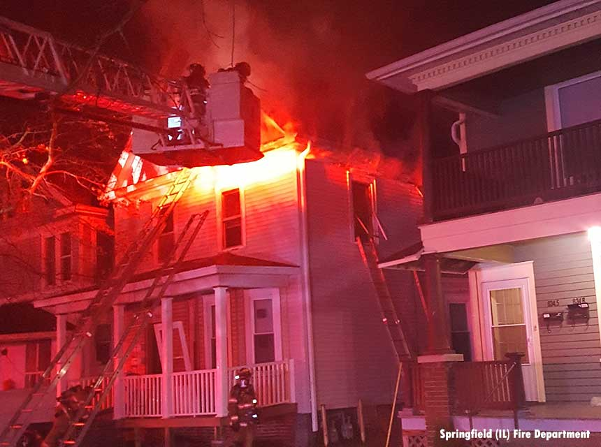 Springfield IL firefighters at the scene of a 2018 house fire