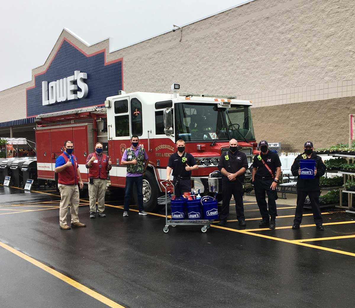 Lowe's fire safety event with fire truck