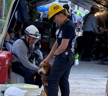 Rescuers with dog