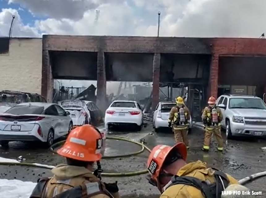 Los Angeles (CA) Firefighters Respond to Massive Fire That Injured Three